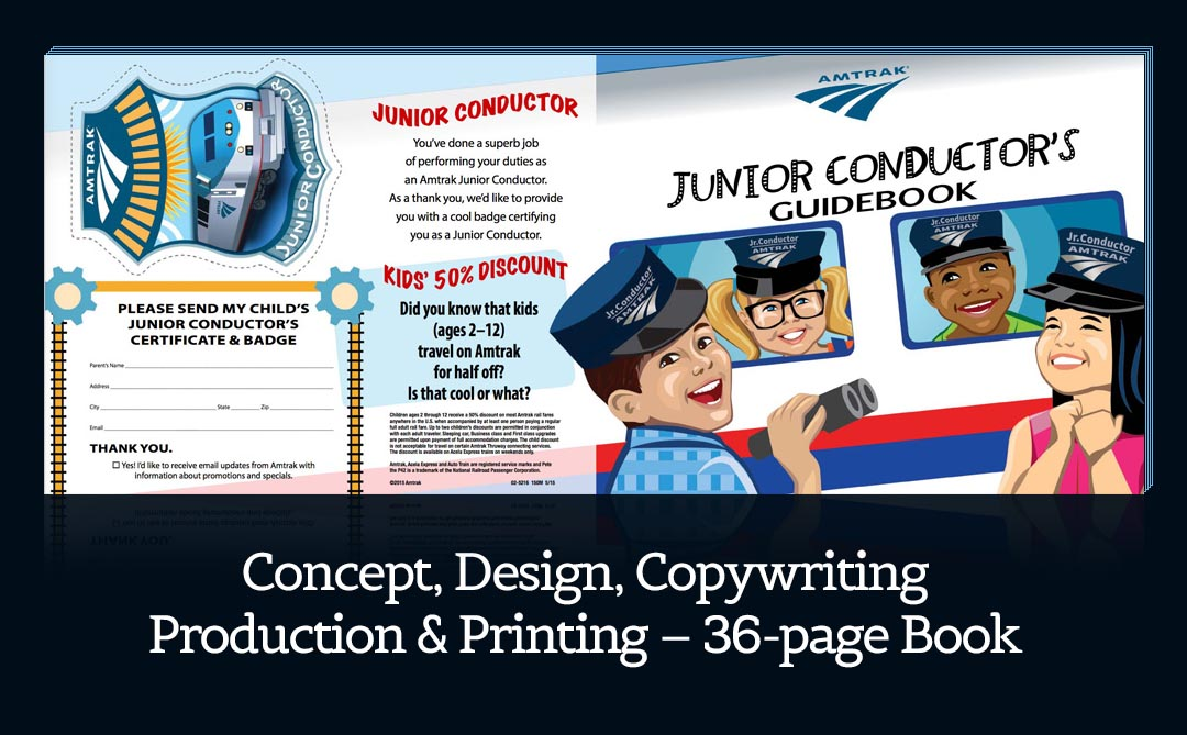 All creative services, concept through final printing for Amtrak Junior Conductor Guidebook